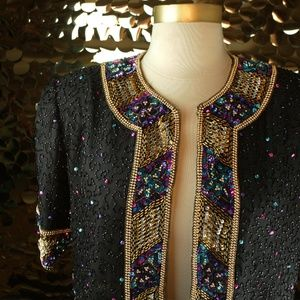 Brilliante by J.A Black S/S Beaded Crop Jacket
